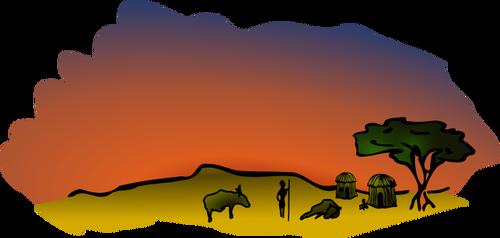 Vector clip art of African savanna scenery.