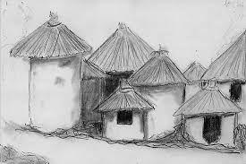 clipart african village.