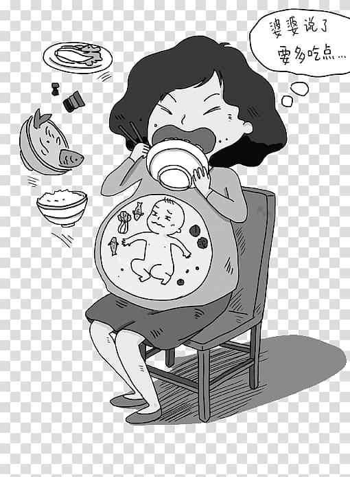 Pregnancy Fetus u5b55u5987 Eating Illustration, Poor.