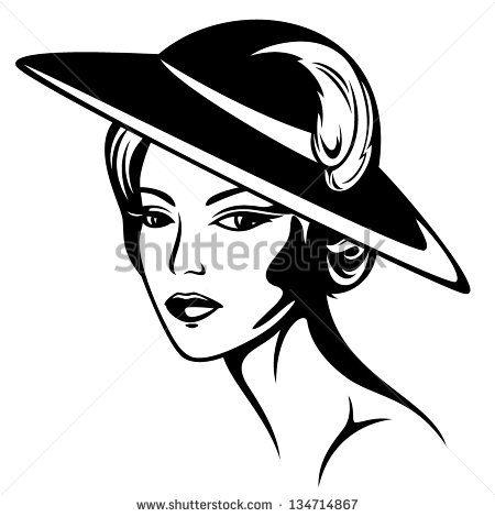 beautiful woman wearing vintage hat.