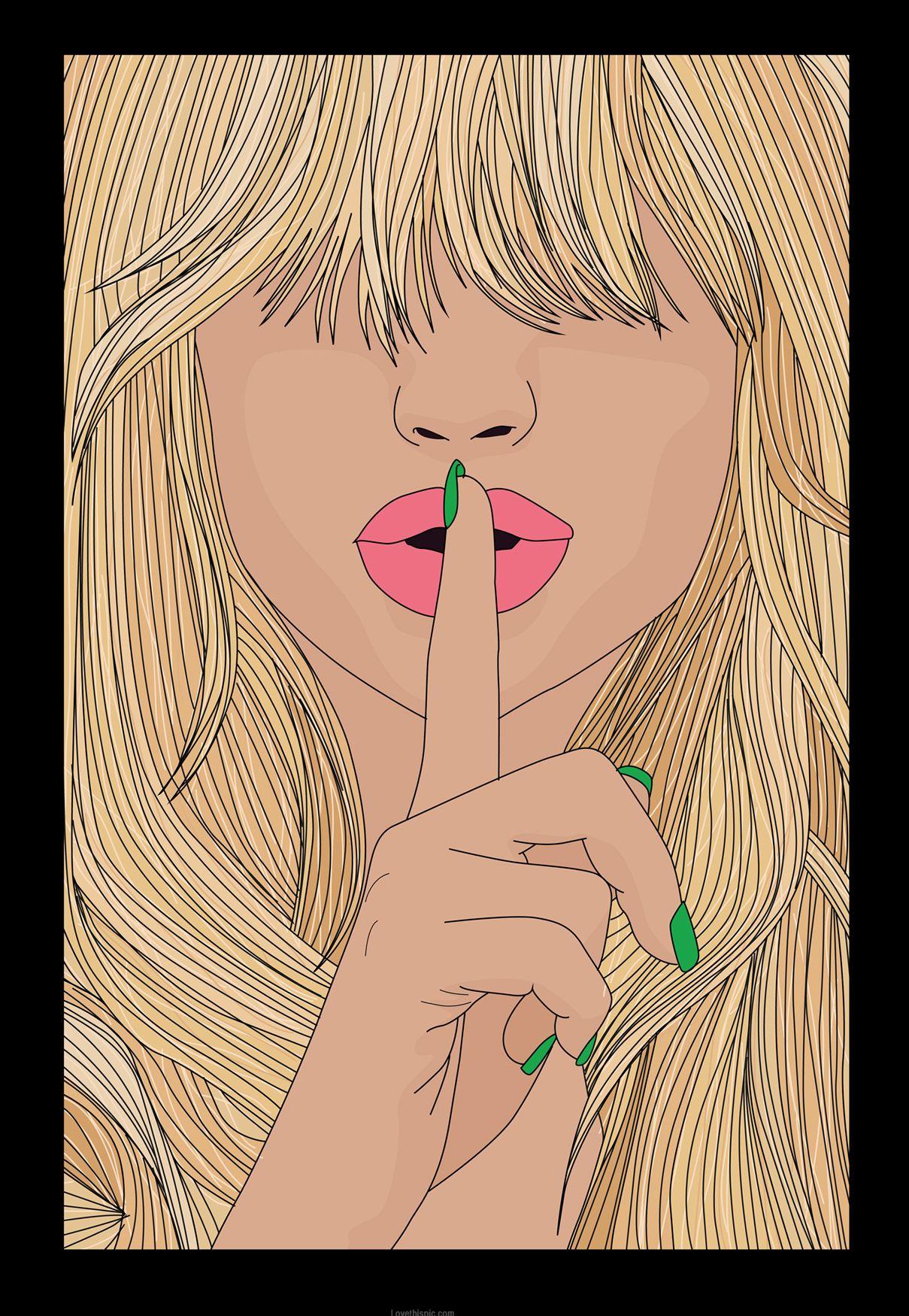 Shhhhh art painting woman illustration digital shh hush in.