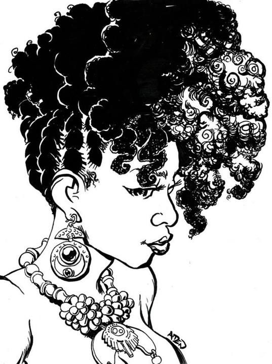 Black girl with braids clipart.