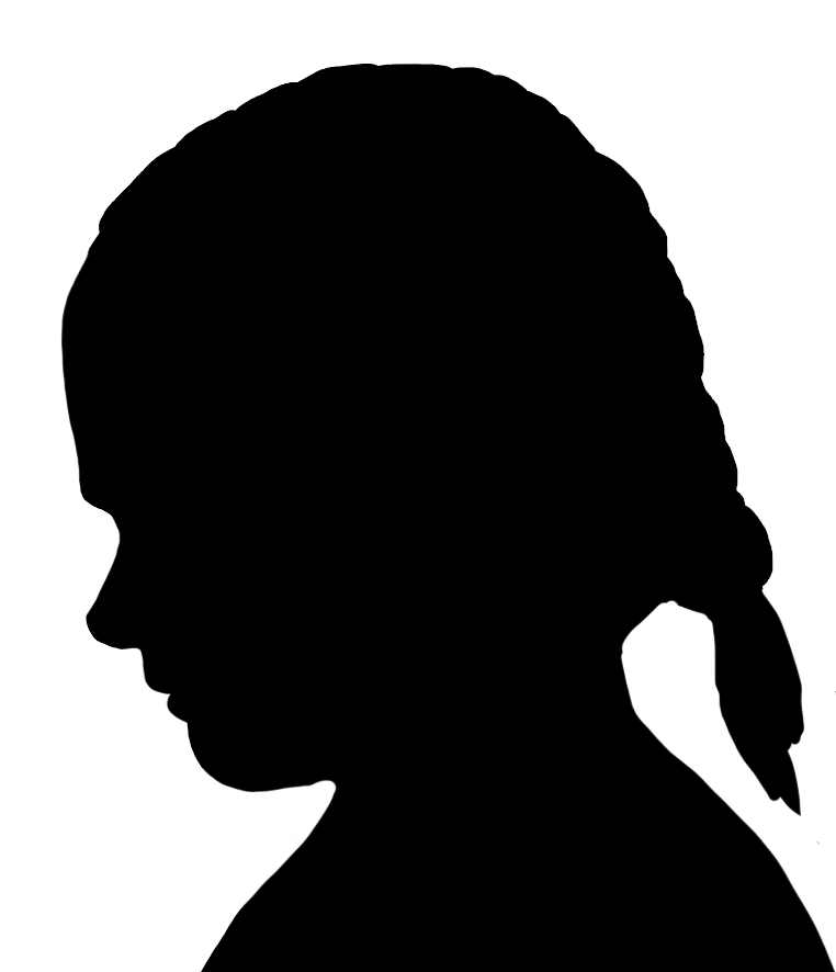 Silhouette Of A Girl With Braids.