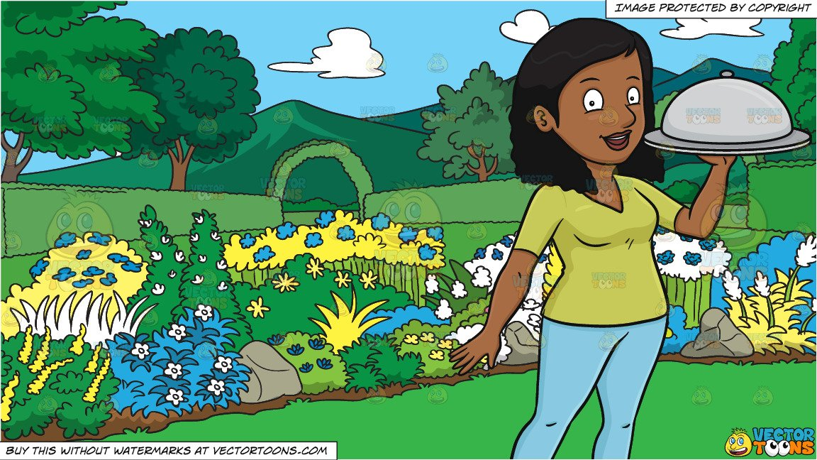 A Black Woman Carrying A Surprise Food Hidden Under The Dish Cover and A  Majestic Garden Background.