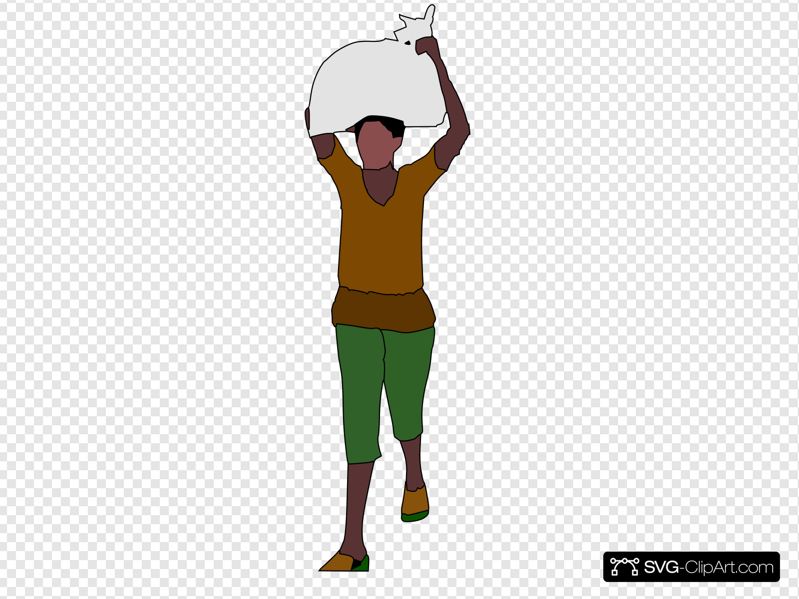 African Lady Carrying Food Over Her Head Clip art, Icon and.