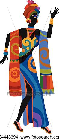 Ethnic dance african woman Clipart.