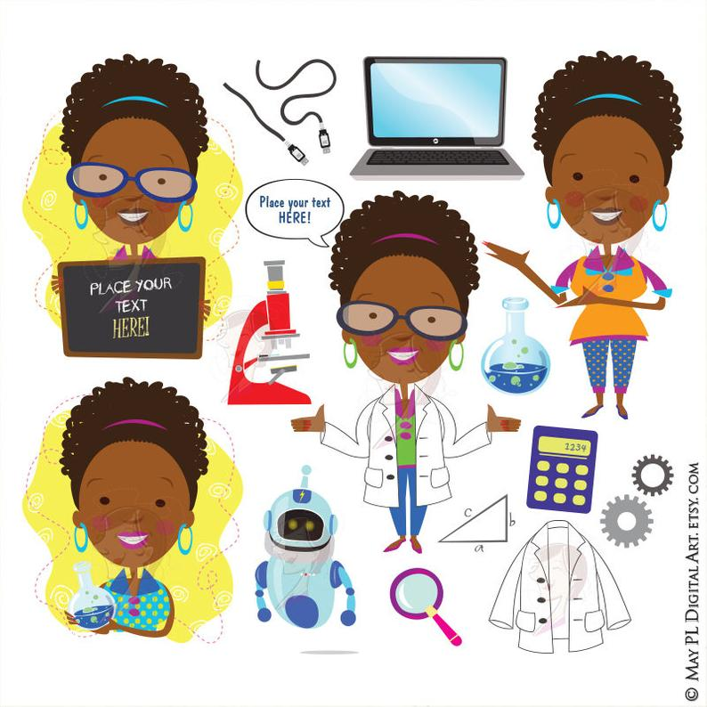 Science Teacher Scientist African American Woman Clipart Technology  Engineering Math School Clip Art Commercial Use Quirky Graphics 10354.