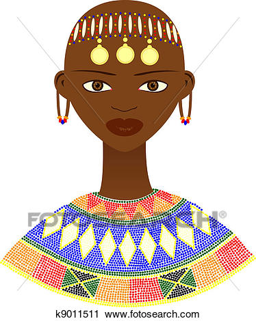 Native African woman Clipart.