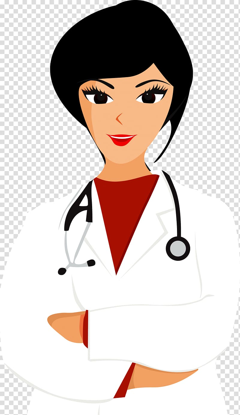 Female doctor wearing lab coat and stethoscope wrapped.
