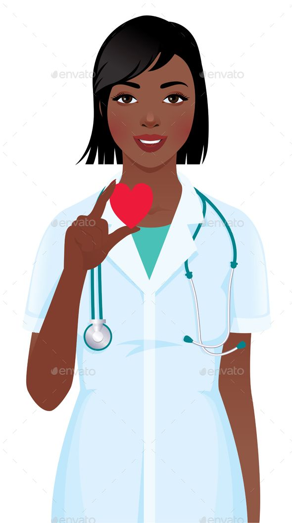 Female Doctor or Nurse with Stethoscope Holding Heart Symbol.