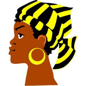 African Lady\'s Head clipart, cliparts of African Lady\'s Head.