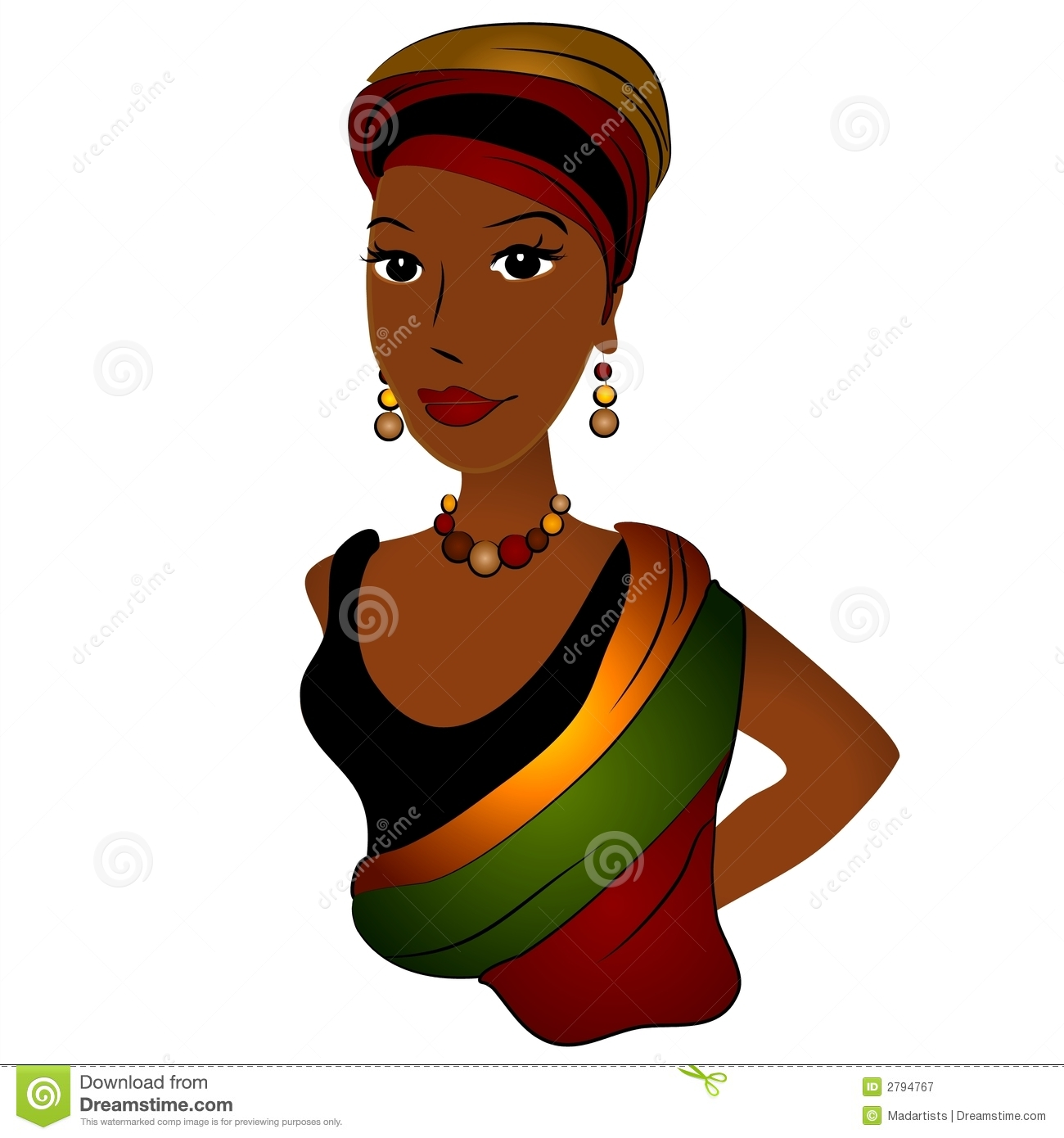 African Lady Clipart.