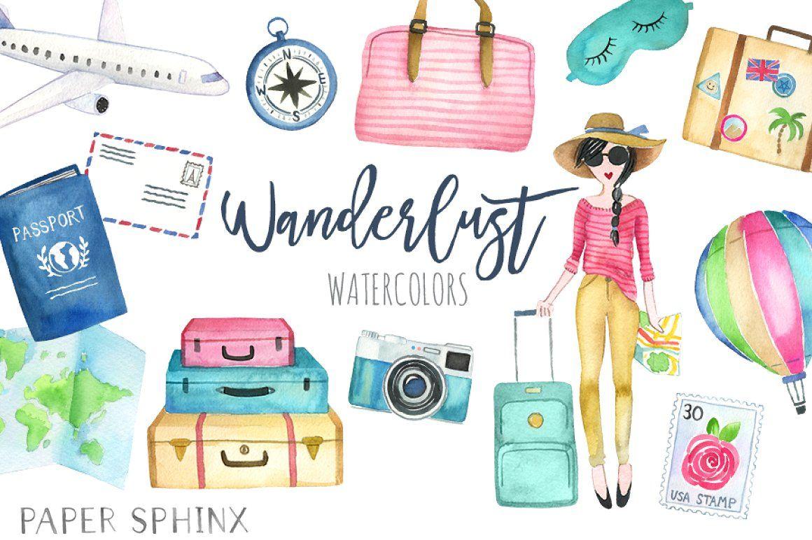 Watercolor Wanderlust Travel Pack travel clipart watercolor.