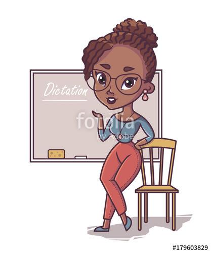 African teacher, black young woman professor standing in.
