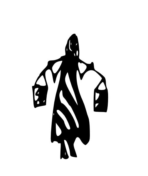 Tribal Art Lady Carrying Water Buckets On Shoulders Clip Art.