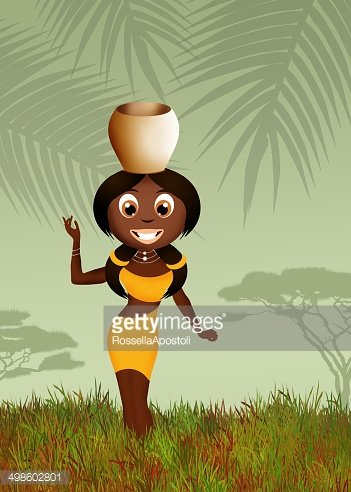 African woman carrying water Clipart Image.
