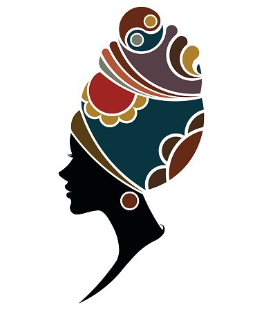 African women silhouette fashion models on white background.