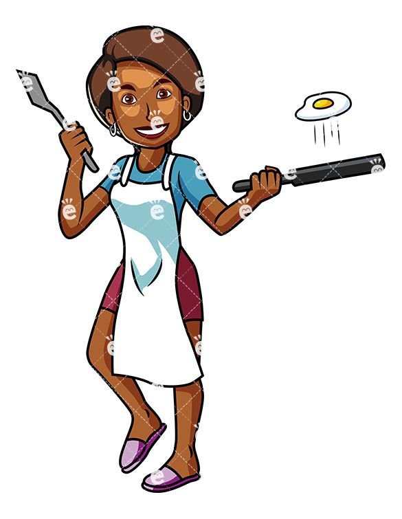 A Black Woman Frying Up An Egg For Breakfast.