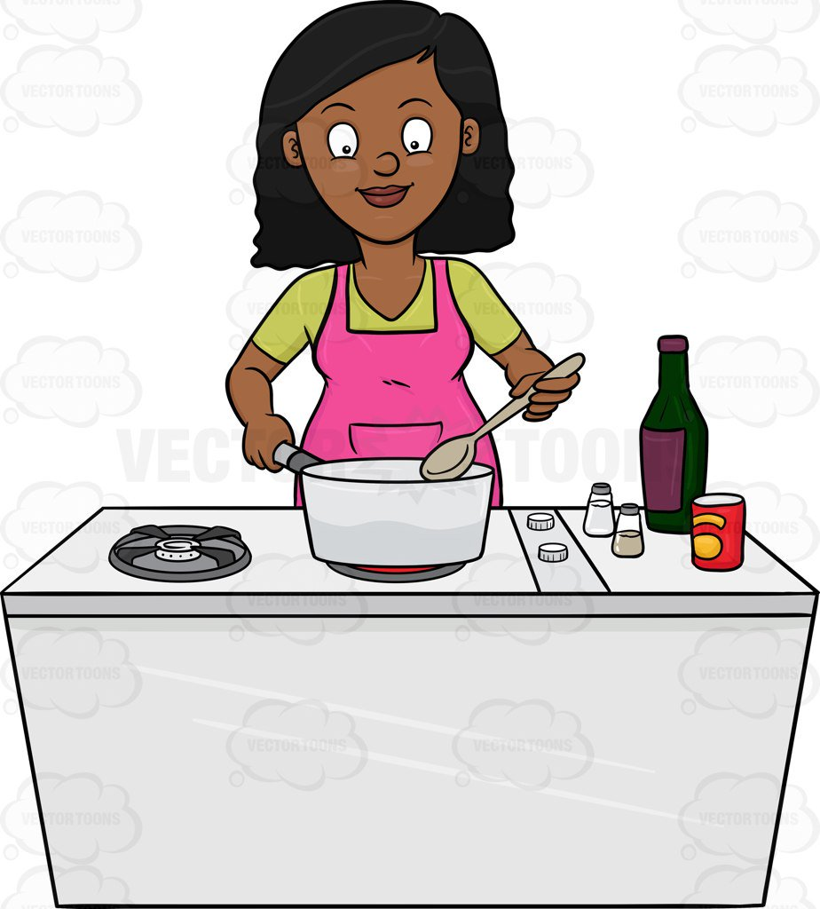 Black Woman Cooking Clipart.