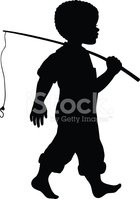 African American Boy With Fishing Pole stock vectors.