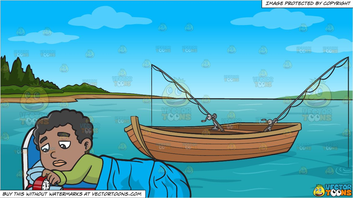 A Black Boy Turning Off His Alarm Clock and Fishing Boat On The Lake  Background.
