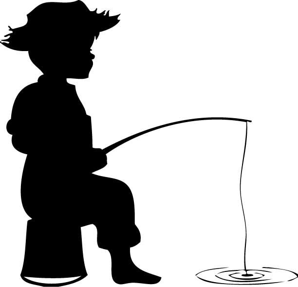 Little Boy Fishing Silhouette Clipart.