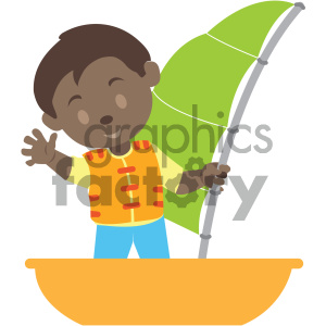 african american boy on a boat vector illustration clipart. Royalty.