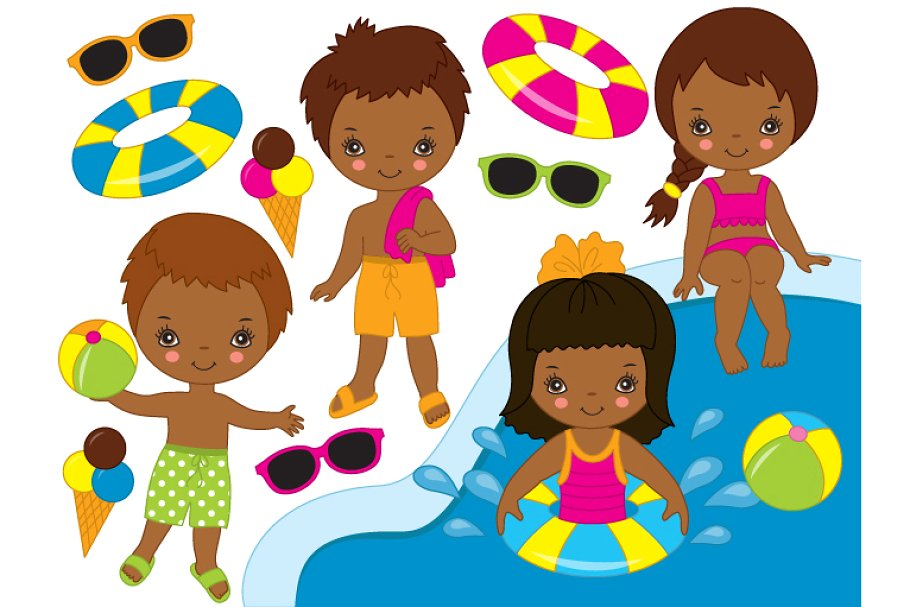 Vector African American Pool Kids.