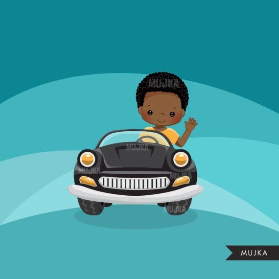 Car driver clipart, chic characters, black, card making.