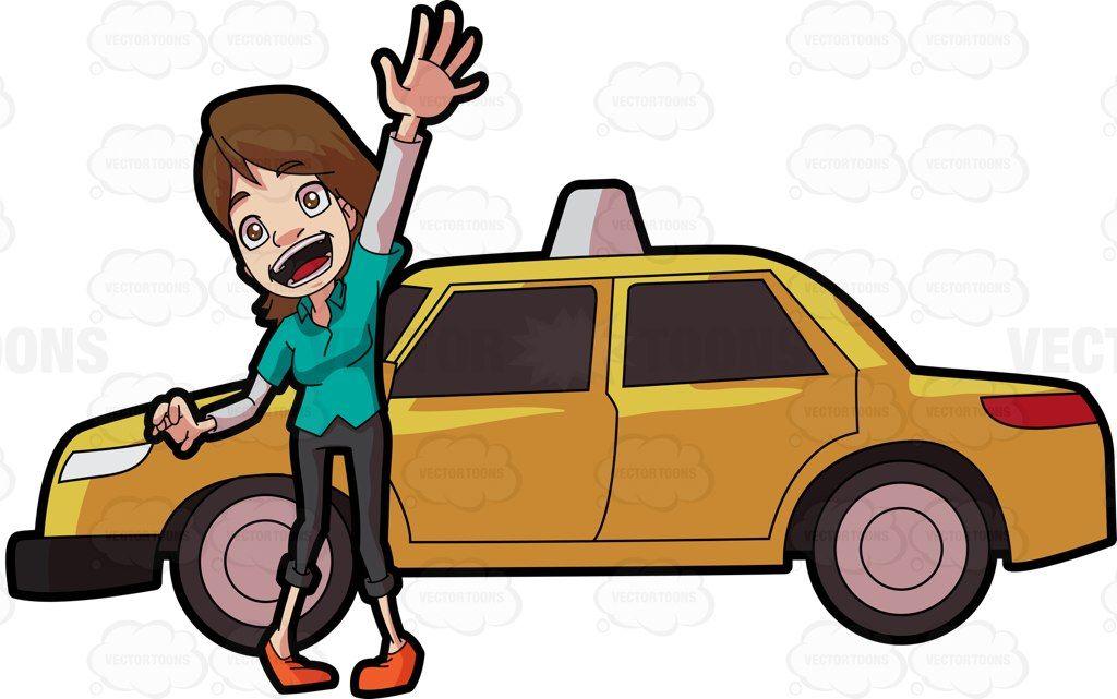 A friendly female taxi driver #cartoon #clipart #vector.