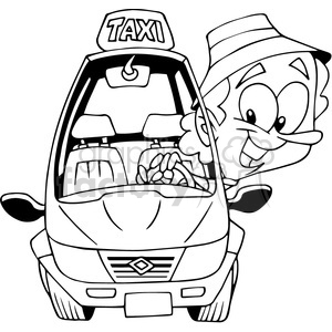taxi driver cartoon outline clipart. Royalty.