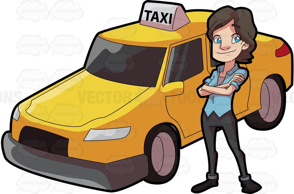 A female taxi driver looking bright and happy #cartoon.