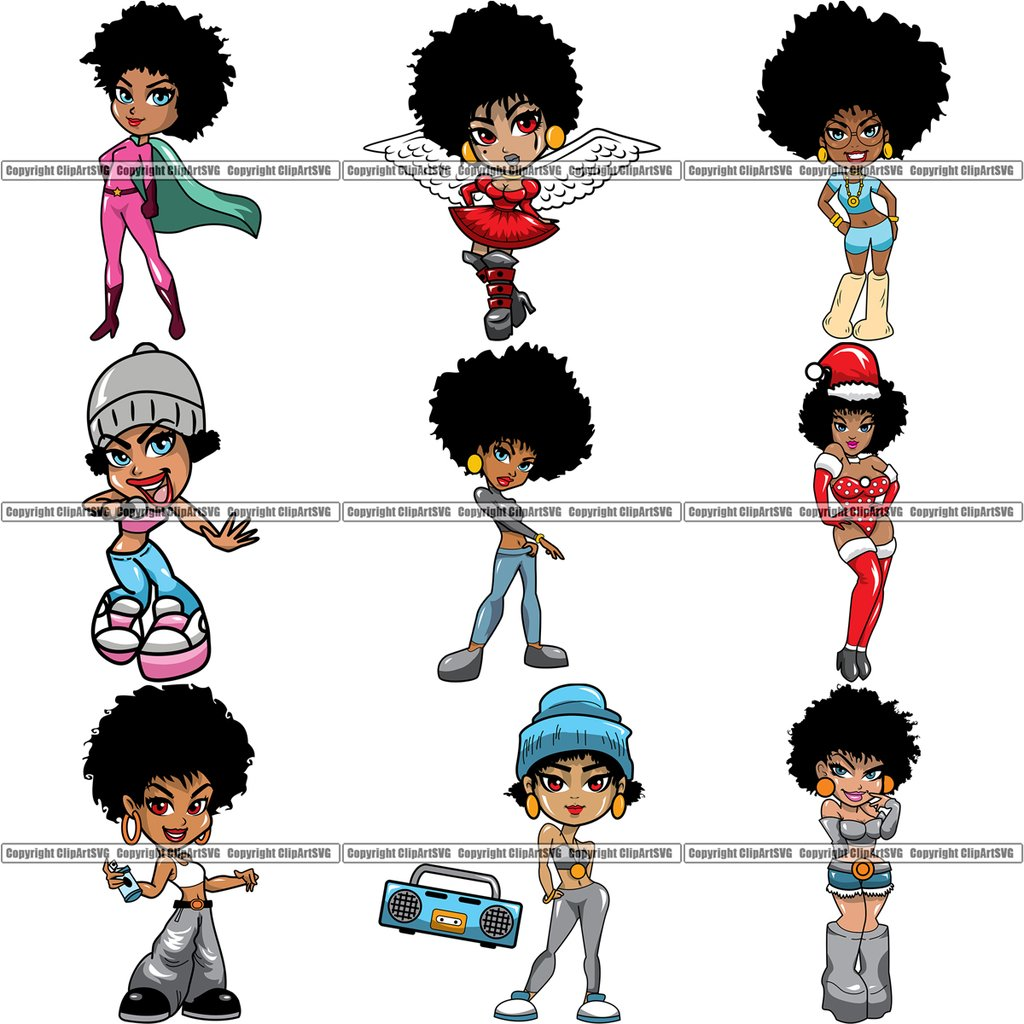 9 Black Women Big Eyes African American Afro Nubian Queen BUNDLE ClipArt SVG.