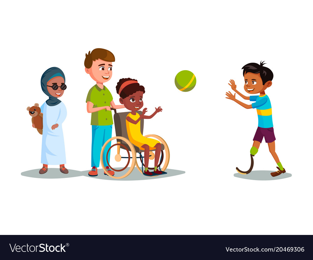 Cartoon disabled teen kids playing set.