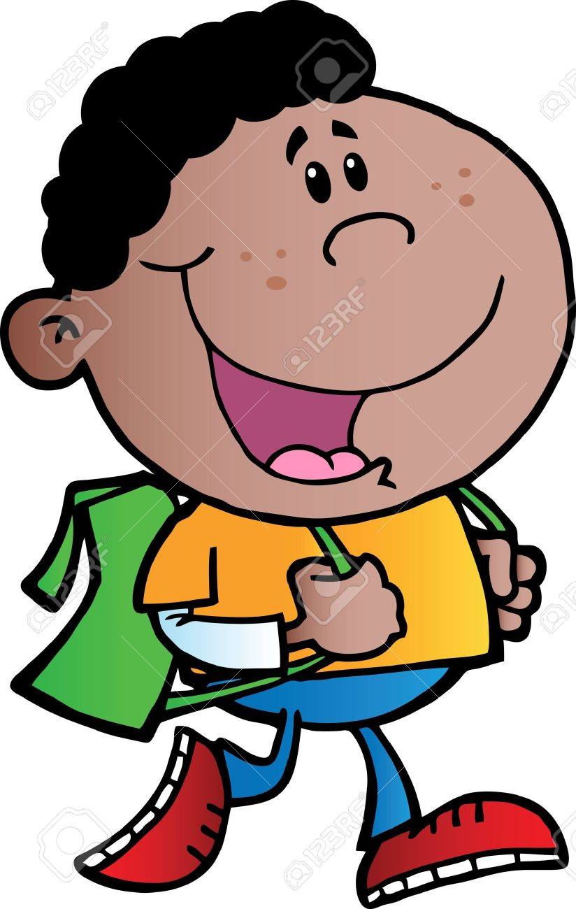 africian americancartoon boy with backpack clipart