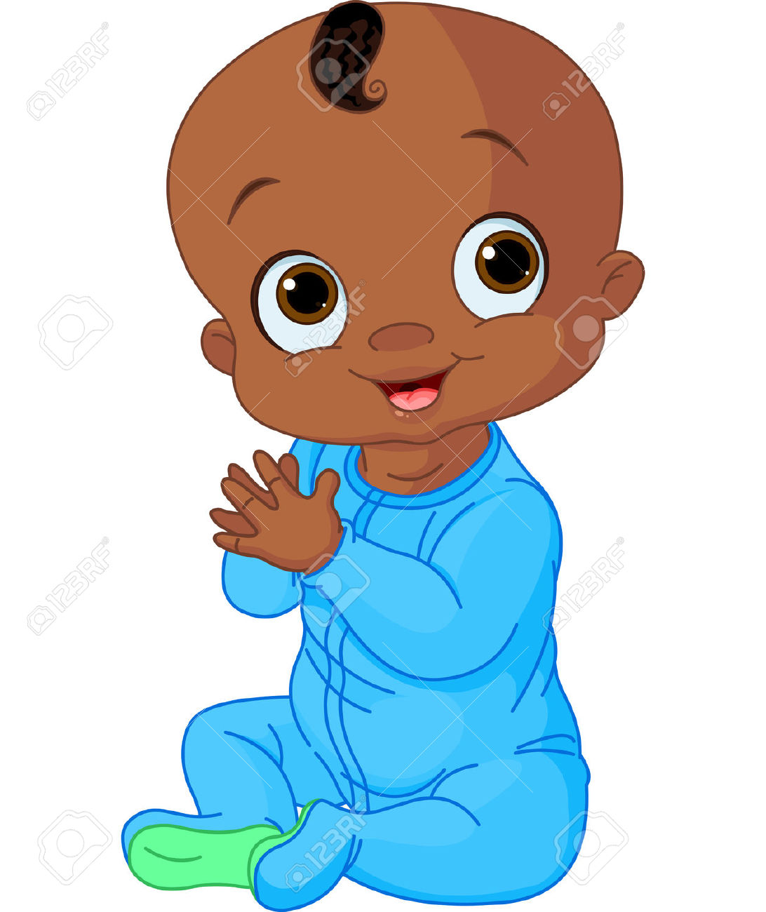African American Baby Boy Cartoon Christian Clipart.