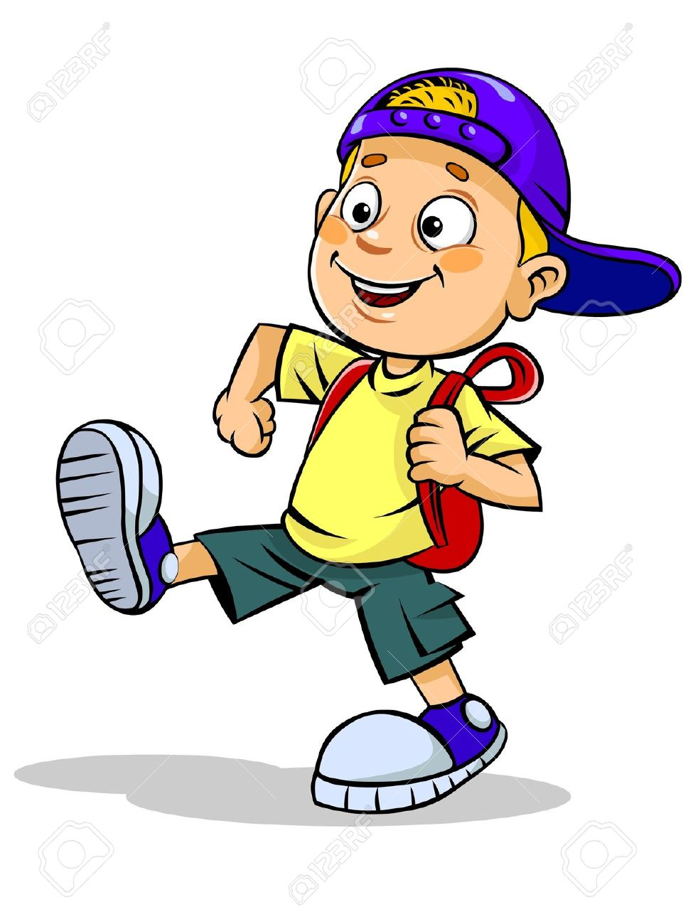 Cartoon Boy With Backpack Clipart.