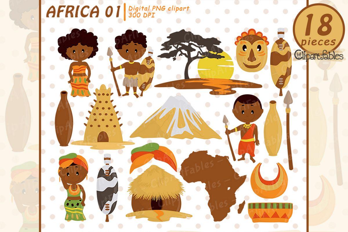 African clipart, travel art, zulu tribe.