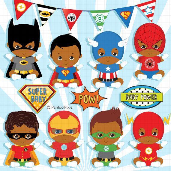 African American Superhero baby boy clipart, Super baby.