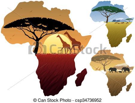 Vecteur Clipart de carte, Paysages, afrique.