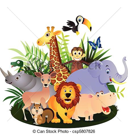 Group Of Wild Animals Clipart.