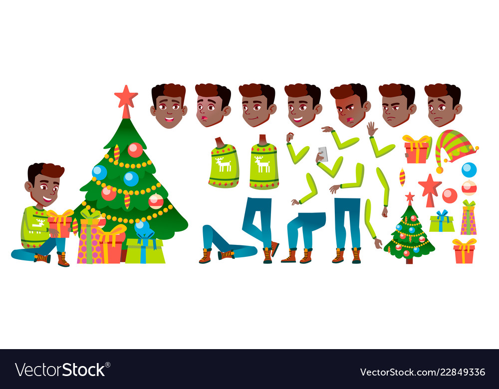 Boy black afro american christmas child.