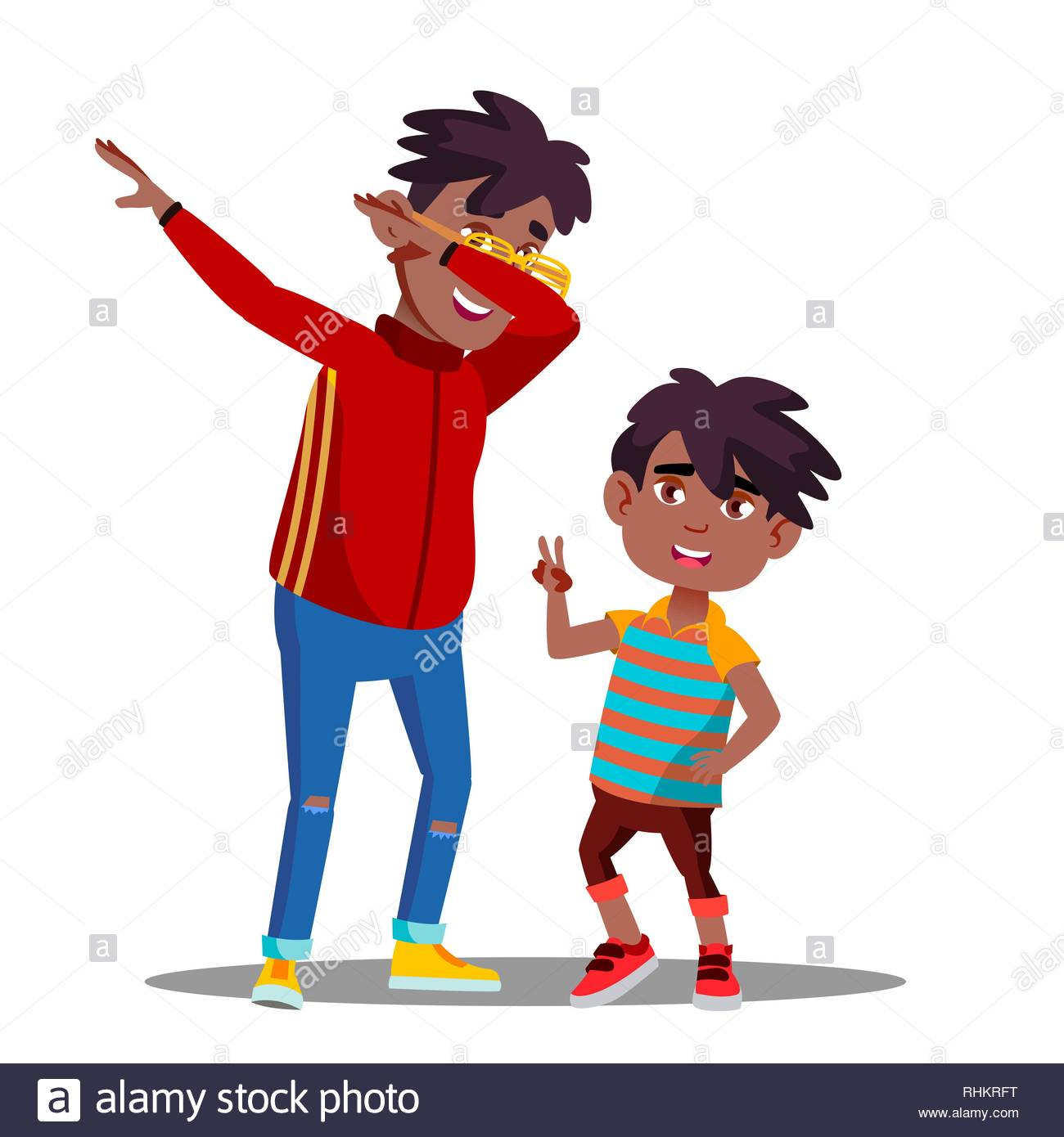 Two Little Afro American Boys With Dreadlocks Dancing To Music.