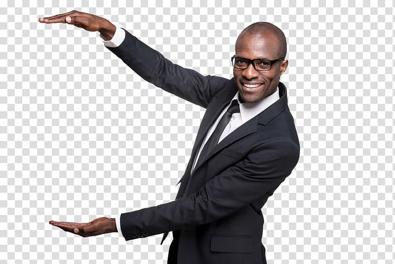 Man gesturing size, Black Happiness African American.