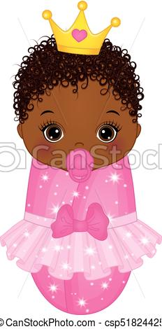 Vector Cute African American Baby Girl Dressed as Princess.