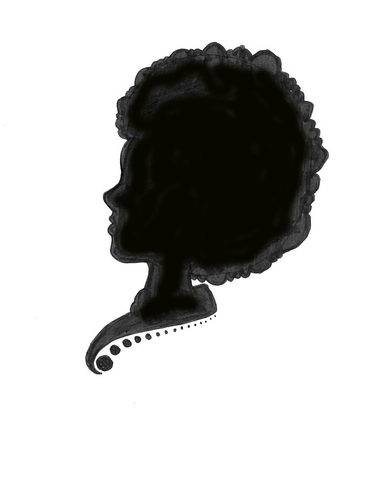 clipart of silhouttes of black women afro.