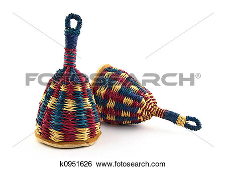 Stock Images of Two colorful caxixi, Afro.