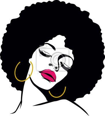 afro hair hippie woman pop art Pentaptych • Pixers®.