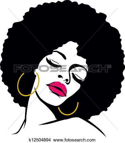 Clip Art of Funky woman in an afro on a terrace u10756002.