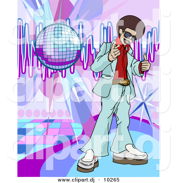 Vector Clipart of a Young Black Man with Afro Standing.